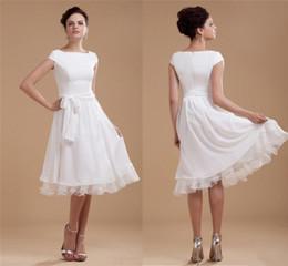 Novo design curto chiffon vestidos de casamento frete grátis tripulação drapeado arco faixa verão praia quente jardim vestidos de noiva vestido de dama de honra vestido de festa de