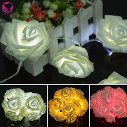 Wholesale Waterproof Desk - Wholesale-20 LEDs Rose Flower Fairy String Lights Wedding Garden Party Christmas Decoration Home Desk Decor night lamp Xmas light