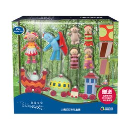 Wholesale Wind Car Toy - In The Night Garden baby 6 pcs toy dolls +1 wind up ding ding car + 3 building blocks toys in a set