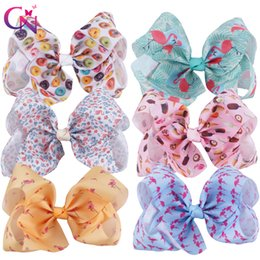 """Wholesale Flamingo Accessories - 6 Pieces  Lot 7 """"Fashion Flamingo Hair Bows With Clips For Kids Girls Boutique Large Printed Ribbon Knot Bows Hairgrips Hair Accessories"""