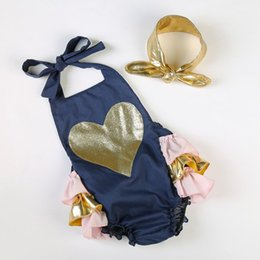 Wholesale Laced Petti Rompers - baby onesies newborn romper girls heart one piece clothes + gold headbands children ruffle tutu petti rompers infant lace bodysuit outfits