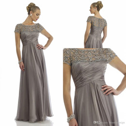 Wholesale lavender bride dresses - 2017 Vintage Sheer Crystal Chiffon Mother Dresses 2016 Short Sleeve Rhinestone Ruffles Empire Scoop Neckline Mother Of Bride Groom Dresses