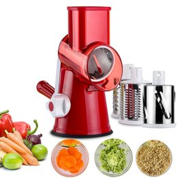 Wholesale Vegetable Fast - 3 blades Fast Vegetable Mandoline Slicer Manual Vegetable Slicer Efficient Fruit Cutter Cheese Shredder Speedy Rotary Drum Grater Slicer