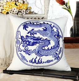 Wholesale Blue Dragon China - New blue and white china embroidery Dragon Pillow cushion cover sofa cushion cover chair car seat pillow cover home decor Xmas