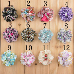Wholesale Hand Accessories For Girls - Mix colors 5CM new printed chiffon hand sewn pearls rhinestone flower for hats, baby girl children hair accessories felt flowers