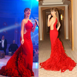 Wholesale Jewel Brush - 2016 Arabic Myriam Fares Sheer Mermaid Formal Evening Dresses Cutaway Sides Brush Train Prom Gowns Red Carpet Celebrity Dresses BA0437