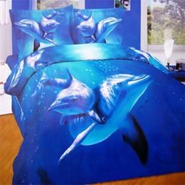 Wholesale 3d Ocean - Wholesale-Beautiful Blue Ocean 3D Animal Print Dolphin Bedding Set Queen Size 100% Cotton Duvet Cover Bedsheet Pillowcase Bed in a Bag