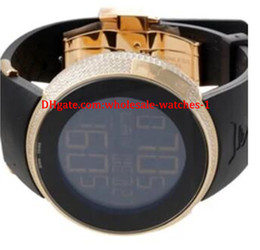 Orologio digitale della fascia di gomma online-Regalo di Natale Fornitore della fabbrica Rubber Band Luxury Diamond Mens Digital Orologio al quarzo digitale YA114215 Orologio da uomo sportivo nero / oro