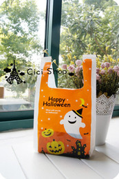Wholesale Halloween Candy Cookies - Free shipping orange happy Halloween pumpkin decoration cookie biscuit bags candy bag gift packing hand portable bags favors