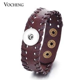 Wholesale Ginger Snaps - VOCHENG NOOSA Genuine Leather Bracelet Ginger Snap Jewelry Interchangeable 18mm Charm Popper Jewelry NN-228