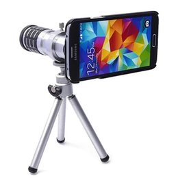 Wholesale Covers Galaxy Zoom - For Samsung Galaxy S5 12X Optical Zoom Telescope Camera Lens+mini Tripod +Back Case Cover Phone 12X Zoom Lens