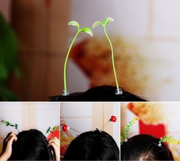 Wholesale Planting Bean Sprouts - 100pcs New Lovely Novelty Plants Grass Fruit Hair Clips Headwear Small Bud Antenna Hairpins Lucky Grass Bean Sprout Mushroom Party Barrettes