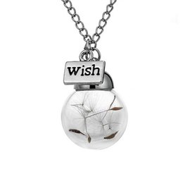 Wholesale Dressed Bottles - Glass bottle necklace Natural dandelion in glass long necklace Make A Wish Glass Bead Orb silver plated Necklace jewelry dress party jewelry