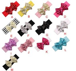 Wholesale Big Top Party - children girl big bowknot sequins wide Headbands Bandanas baby toddler infant xmas top hat headband Turban party hairband headwear colorful