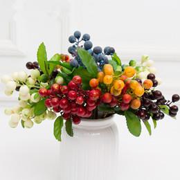 Decorazioni del ramo di natale online-Christmas Mini 2 Branch Foam Piccoli frutti di bosco artificiali Simulazione di fiori Frutta per oggetti di scena Decorazioni natalizie Fai da te Fiori di design