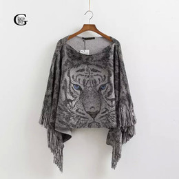 Wholesale Tiger Batwing Sweater - Wholesale- Lace Girl 2017 Autumn Winter Slash Neck Women Knitted Sweaters Tassel Loose Pullover Tiger Print Casual Womens Capes Ponchoes