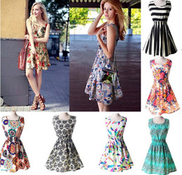 Wholesale Cheap Wholesale China Summer Dresses - 2017 New Women Casual Dress Plus Size Cheap China summe Dress 19 Designs Women Clothing Fashion Sleeveless Summe Dress 10pcs Free Shipping
