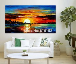 Wholesale Dust Spray - Sailing Boat on Dust Sea Palette Knife Painting Modern Picture Printed On Canvas For Office Home Wall Art Decor