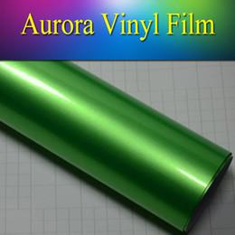 Wholesale Wrapping Car Gloss Green - 1.52x20m(5x65ft) new car sticker high glossy gloss metallic vehcile wrap vinyl sticker sheet bubble free