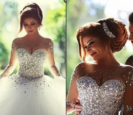 Wholesale Ball Gown Wedding Dress - New Vestidos De Noiva Casamento Sheer Long Sleeve Princess Ball Gown Wedding Dresses 2015 Tulle Crystal Pearls Winter Plus Size Bridal Gowns