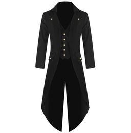 Wholesale Plus Size Gothic Costumes - Men's Coat Fashion Steampunk Vintage Tailcoat Jacket Gothic Victorian Frock Coat Men's Batman Uniform Costume S to 4XL Size Plus