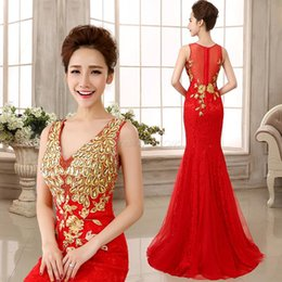 Wholesale Chinese Lace Red Dresses - Chinese Style Beaded Formal Evening Gowns with Backless 2015 Mermaid V-Neck Appliques Pleated Prom Pageant Dresses for Party 2014