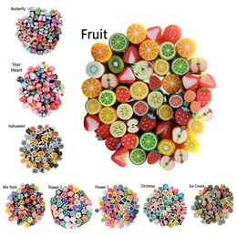 Wholesale Fimo Clay Nail Art - 5mm Nail Art Canes Fimo 3D Nail Stickers Decoration,Hot100pcs Polymer Clay Fruit Flower Buttefly DIY Nail Tips Accessories