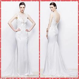 Wholesale Zuhair Murad Dresses Online - Zuhair Murad Embroidery Lace Appliques Beaded Crystal Sheath Wedding Dresses 2016 Custom Online Bridal Gowns Amazing Chapel Chiffon Online