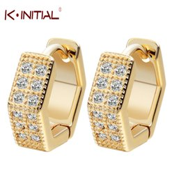 Wholesale 24k Gold Earrings For Women - Wholesale- Kinitial 2017 Charm Silver Earrings Geometric Jewelry 24K Gold Tone Women CZ Stone Crystal Wedding Earrings For Baby Girls A1279