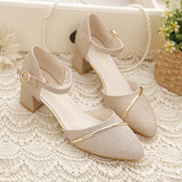 Wholesale Sexy Shoes Small Heels - Women's shoes 2017 new small fresh in the high with the Baotou word buckle single shoes sexy thin thin bridesmaid
