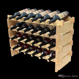 Wholesale Wine Rack Wood - Wooden Wine Rack DIY Assemble Wine Shelf Wood Holders Suitable for Hotel Cellar Bar Club Home
