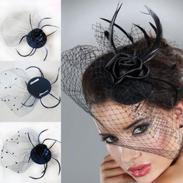 Wholesale Top Hat Wedding Veils - Cheap In Stock Fashion Party Feather Hair Clip Mini Top Hat Fascinator Bridal Veil Hair Accessories