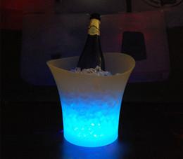 Wholesale Custom Wine Coolers - led illuminated ice bucket 5L custom plastic wine beverage bucket ice cooler for party KTV and bar