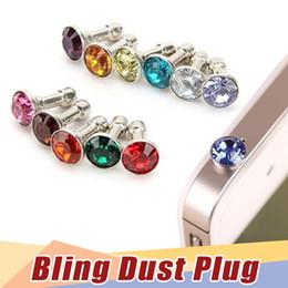 Wholesale Iphone Accessories Earphone Plug - Luxury Phone Accessories Small Diamond Rhinestone 3.5mm Dust Plug Earphone Plug For Iphone & Ipad & Samsung& HTC,Wholesales
