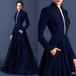 Wholesale Ellie Saab Evening Gowns - Dark Blue Modest Evening Gowns 2016 Embroidery Long Sleeve Ruched Satin Ellie Saab Dress Evening Wear Full Length Appliques Formal Gowns