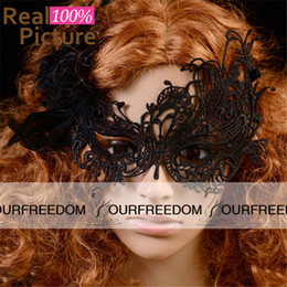 Wholesale White Lace Masquerade Masks - Free Shipping Carnaval Woman Lace Sexy Masks Half Face Halloween Masquerade Lady Exquisite Wedding Party Masks White  Black Dance Party Mask
