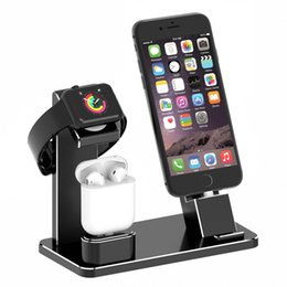 Wholesale Iphone Accessories Aluminum - Apple Watch Stand AirPods Charging Stand Aluminum 4 in 1 Charging Dock Accessories Station Holder for Apple Watch Series 2   1 AirPod