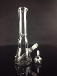 Wholesale Water Wells - Newest design clear GLASS WATER BONG beaker base & ice catcher 18mm downstem for 14mm bowl holds well with out fear of tipping over