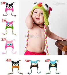 Wholesale Crochet Best - 6 Color Best Price - Handmade Knitted Crochet Baby Hat Owl Hat with Ear Flap Baby Winter Cap Free Shipping Christmas Gift TM005