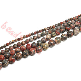 Wholesale Fur Movie - Natural Leopard Fur Jasper Stones 4mm 6mm 8mm 10mm 12mm Smooth Round Spacer Loose Beads 15'' Strand for Jewelry Making(F00248)