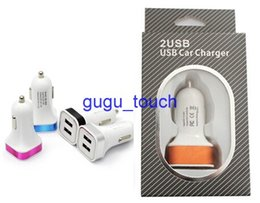 Wholesale Iphone 4s Packaging Eu - Dual USB ports Car Charger 5V 3.1A colorful Powe Adapter with retail package for iPhone 6 6 Plus 5s 4s Samsung s4 s5 Note 3 Note 4 50pc