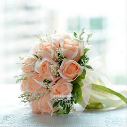 Rosas champagne online-Novia coreana boda champán rosas simulación de la boda ramos de flores novia con ramo de flores ramo de novia ramos 2015 tbSPH07