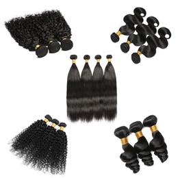 Wholesale Human Wigs Wholesale - Illusion Brazilian Wig Weft 4x4 Lace Closure Brazilian Human Hair 3 Bundles 300g Virgin Human Hair Weave Natural Color Remy Hair