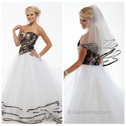 Wholesale Ladies Beautiful Gowns - New Beautiful A-Line Camo Wedding Dresses White Tulle Chapel Tiered Long Bridal Gowns Custom Sweetheart Formal Wear Online For Ladies 2015