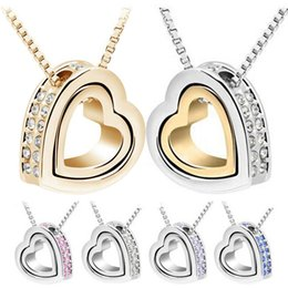 Wholesale Double Heart Gold Necklace - 2015 Brand New 18K Gold +White Gold Plated Double Heart Crystal Pendant Necklace With SWV Elements Crystal Necklace Pendants