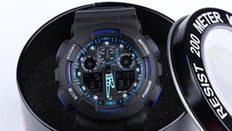 Wholesale Acrylic Display Boxes - New with round box , dual display sports watch ga100 G Black Display LED Fashion army military shocking watches men Casual Watches CAS1