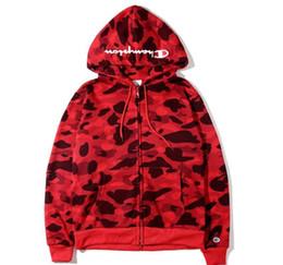 Wholesale Popular Coat Brands - Newest Men's Camouflage Shark Hoodies Windbreaker Hoodies Fashion Cardigan Leisure Coat Popular Brand Japanese Lapel High Qualiy Hoodie