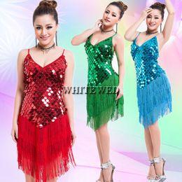 Wholesale Fancy Tassels - Women's 1920s Tassel Sequin Latin Tango Sala Fringe Dance Team Mini Fancy Flapper Dress Ballroom Clothing Wear V Neck Cheap