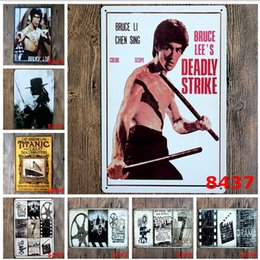 Wholesale Movie Tin Signs Wholesale - hot new 2015 classic martial arts movie stars Tin Sign Coffee Shop Bar Restaurant Wall Art decoration Bar Metal Paintings