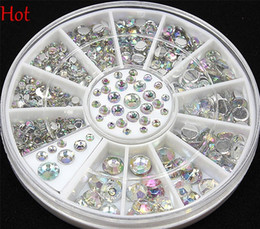 Wholesale Stickers 3d Rhinestone - Wholesale 4 Sizes 300 Pcs Nail Art Tips Crystal Glitter Rhinest 3D Nail Art Decoration Beads Nail Decal Stickers Rhinestones Wheel Hot 19818